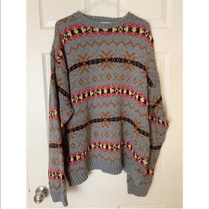 Old Glory Cable Knit Print Pullover Sweater